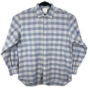 Billy Reid Standard Cut Blue Gray Plaid Shirt L